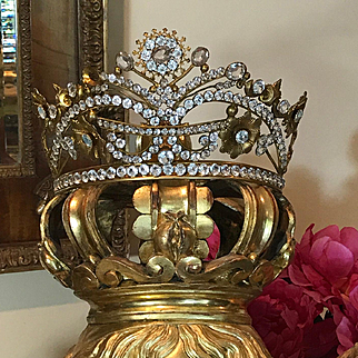 Antique Religious French Jeweled Dore Bronze Santos Crown Tiara  Life Size