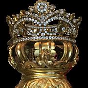 Antique Religious French Jeweled Dore Bronze Santos Crown Tiara  Life Size