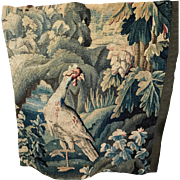 17th Century French Aubusson Verdure Tapestry Panel Large Bird