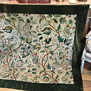 Antique English Crewelwork Embroidered Cover Tree of Life