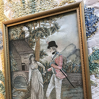 Exquisite 18th Century English Embroidery  Romantic Figural Silk Needlework