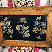 17th Century English Embroidered Spot Motif Slips Jacobean Stumpwork Plants Flowers Lion Rabbit Snails Dragonfly