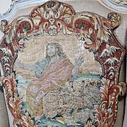 French Louis XV Embroidery Stumpwork Panel Antique Needlwork