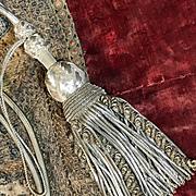 French Baroque Tassels Antique Curtain Tie Backs Silver Metallic Caterpillar Passementerie