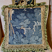 Antique French Tapestry Pillow Aubusson Verdure