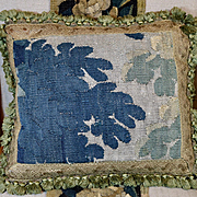 Antique French Aubusson Verdure Tapestry Pillow Cushion