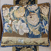 Antique French Tapestry Pillow Aubusson Verdure  Flowers