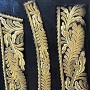 Antique French Empire Gold Bullion Embroidered Court Uniform Collar and Cuffs