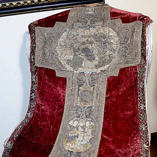 Antique Religious Chasuble Front Embroidered 16th Century Orphrey Cross