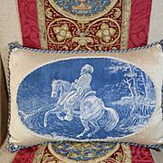 Antique French Pillow Toile de Jouy Oriental Ottoman Decor
