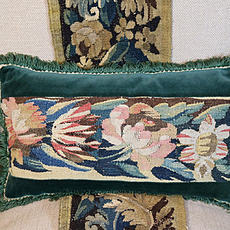 Antique French Tapestry Pillow Aubusson Verdure Tulips Roses