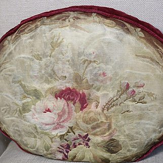 Antique French Aubusson Tapestry Weave Pillow Old Fashion Roses