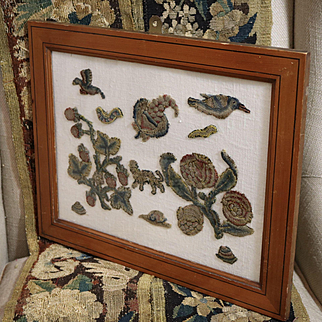 Antique English Embroidered Crewelwork Sips Jacobean Stumpwork Flowers Birds Animal Insects