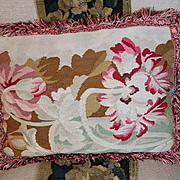Antique French Aubusson Tapestry Weave Pillow Tulips Roses Flowers