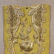 French Baroque Embroidered Panel Gold Metallic Needlework Flower Rose Antique Applique