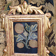 17th Century English Crewelwork Embroidered Stumpwork Jacobean Slip Fruit and Flower