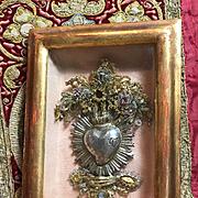 Antique Italian Jeweled Reliquary Ex Voto Sacred Heart Religious Catholic Devotional Monastery Work