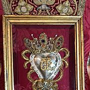 Antique Italian Religious Jeweled Ex Voto Sacred Heart Devotional Reliquary Monastery Goldwork