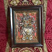 Antique Italian Jeweled Baroque Ex Voto Sacred Hear Reliquary Catholic Devotional Monastery Work