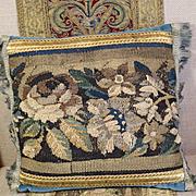Antique Flemish Verdure Tapestry Pillow Flowers