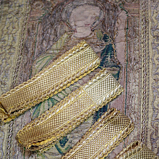Antique French Gold Metallic Trim Ribbon Galon