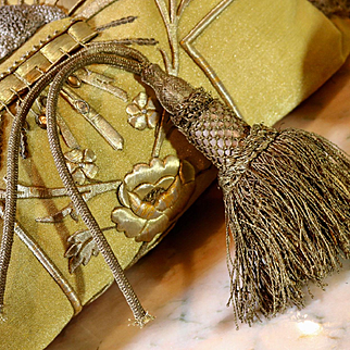 Antique French Chateau Tassel Gold Metallic Silk LARGE
