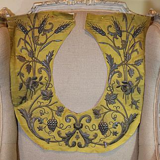 Antique French Embroidered Flower Garland Gold Metallic Stumpwork Applique