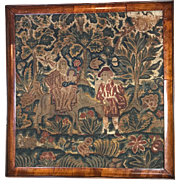 Antique English Needlework Panel Petit Point Tapestry Picture