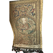 16th Century Orphrey Panel Religious Emroidery Gold Metallic Silk Saint