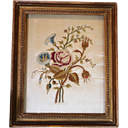 English Georgian Embroidered Silk Picture Country Garden Floral Posy