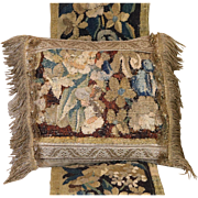 Antique Flemish Verdure Tapestry Pillow Flowers Gold Metallic Lace Tassel Trim