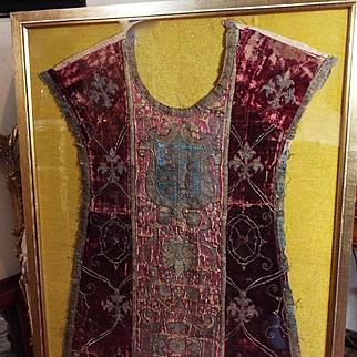 15th Century Italian Chasuble Front Metallic Embroidery  Velvet Armorial Orphrey Panel