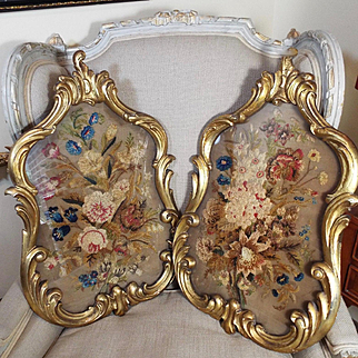Antique English Embroidered Silk Chenille Panels Flowers Roses Needlework PAIR
