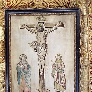 17th Century Religious Embroidery Catholic Church Textile Christ on Cross