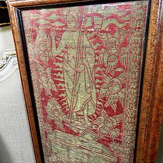 15th Century Florentine Religious Lampas Orphrey Panel The Resurrection Metallic Gold on Red Satin