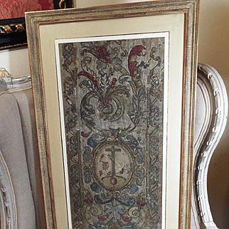 17th Century Religious Embroidered Altar Panel Metallic Silk Needlework