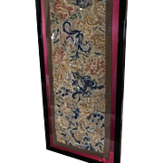 17th Century Embroidered Religious Orphrey Panel Italian  Needlework Fowers Floral Decor