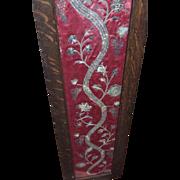 Georgian Embroidered Silk Court Dress Panel Gold Silver Metallic Needlework Flowers