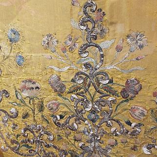 18th Century Embroidered French Court Dress Panel Metallic Stumpwork Silk Flowers