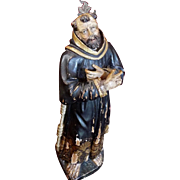Antique Carved Wood Religious Statue St Francis of Assisi