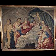 17th Century Flemish Verdure Figural Tapestry Framed