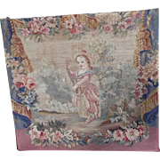 Antique French Aubusson Figural Tapestry Weave Panel Musical Young Girl