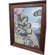 17th Century Religious Embroidered Painted Panel Madonna and Child Red Curtain Angels