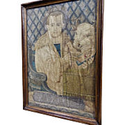 17th Century English Needlework Picture Religious Embroidery Biblical Saint Luke and Ox