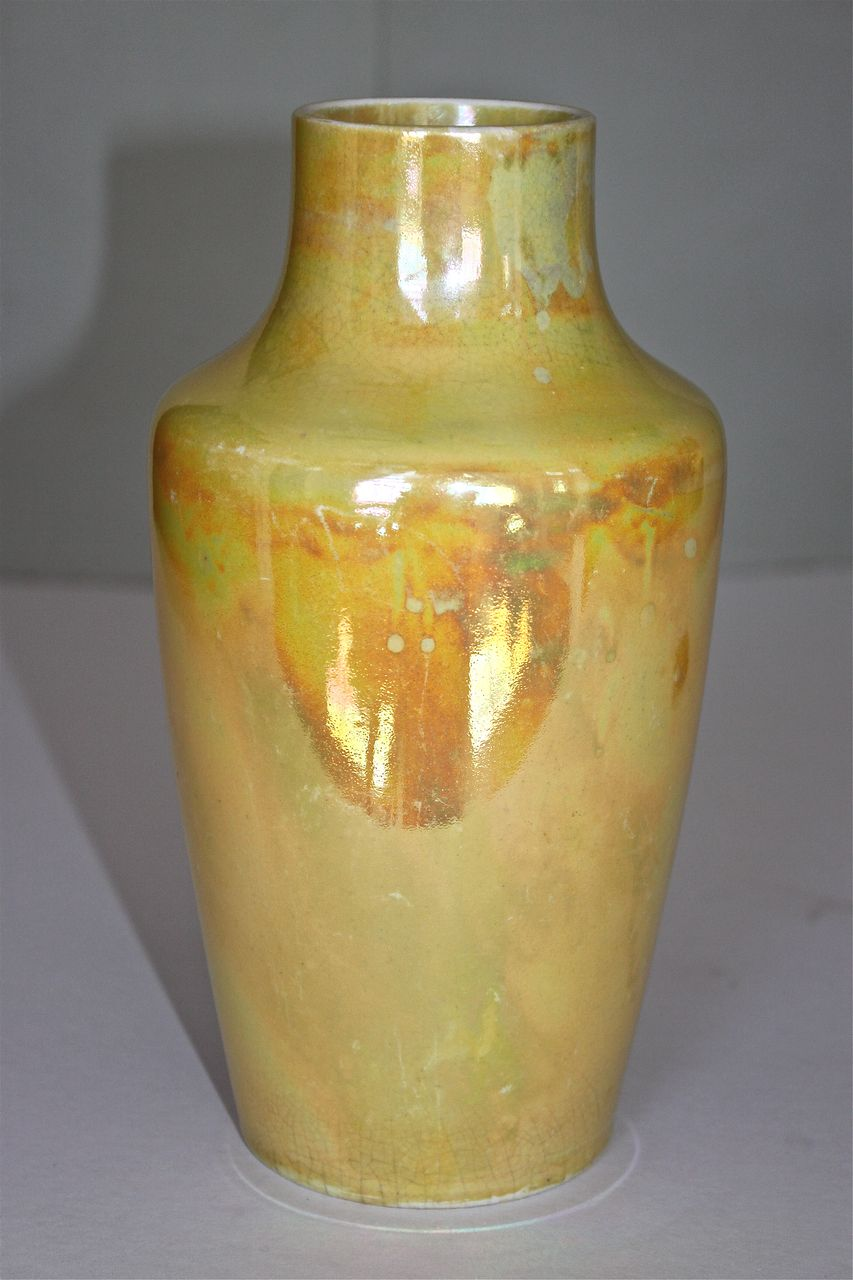 Ruskin Yellow Lustreware Vase, English Arts & Crafts C.1915