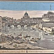 Antique Italian Engraving of Castel Sant' Angelo