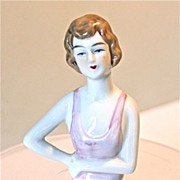 German porcelain Half Doll, flapper with arms extended