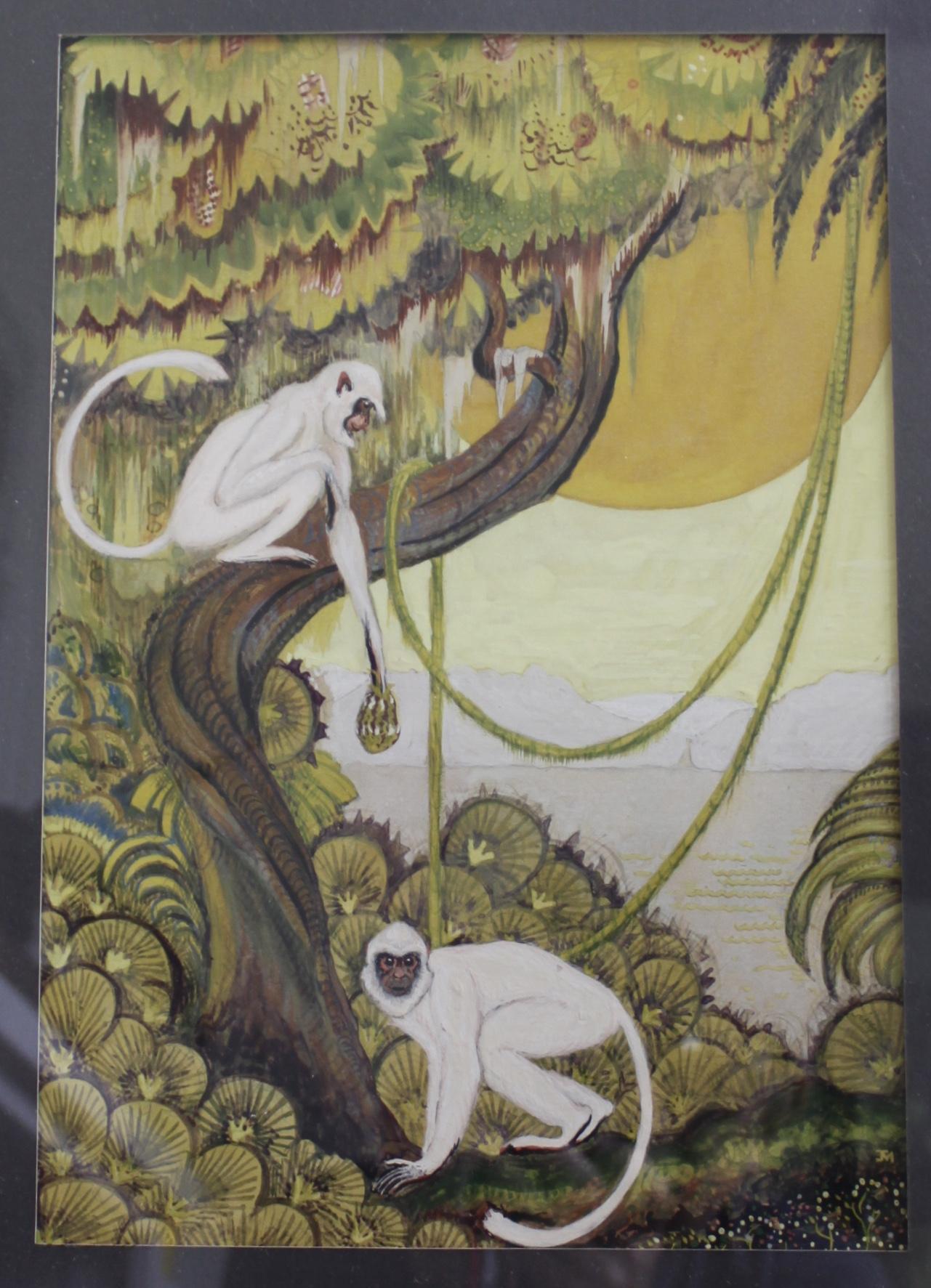 Art Deco Monkeys, Gouache Painting, Circa Late 1920u0026#39;s from decosurfn-rl on Ruby Lane