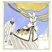 "French Pochoir Circa 1925 ""Rendezvous"""
