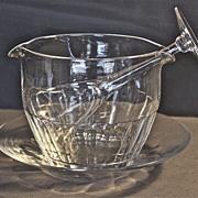 Regency era hand-blown, hand-cut lead crystal wine rinse bowl and under plate